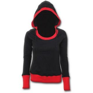 Sweat-shirt gothique femme noir à capuche aux contours rouges