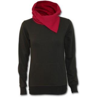 Sweat-shirt gothique femme noir avec capuche rouge à rabas