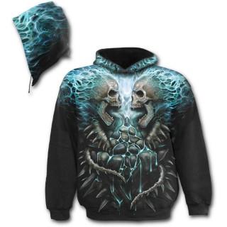 Sweat-shirt gothique homme à cranes en face à face et flammes bleues