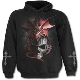 Sweat-shirt gothique homme à dragon rouge sur crane à pointes