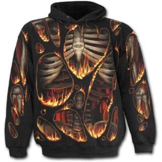Sweat-shirt gothique homme à effet combustion spontanée