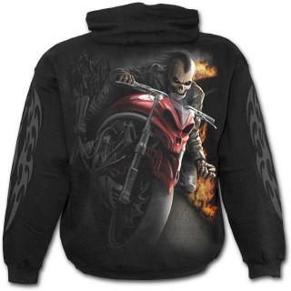 Sweat-shirt gothique homme à motard Mohawk en squelette