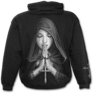 Sweat-shirt gothique homme à zip à femme en prière et croix