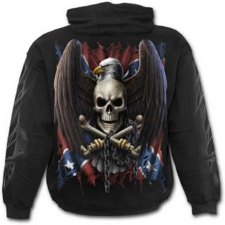 Sweat-shirt gothique homme avec Aigle et drapeau Rebelle