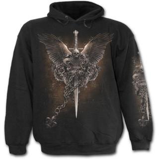 Sweat-shirt gothique homme avec aigle, fleur de lys et crane