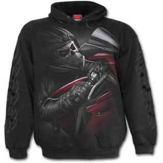 Sweat-shirt gothique homme avec biker démon sur moto rouge sang