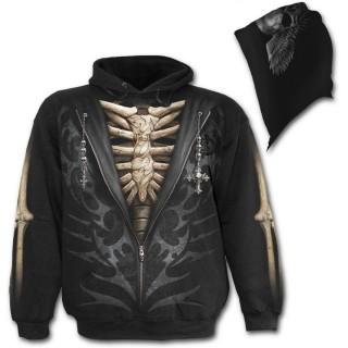 Sweat-shirt gothique homme avec dessin imitation dézippé sur squelette