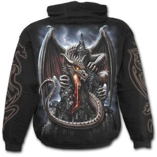 Sweat-shirt gothique homme avec dragon crachant de la lave sur une église