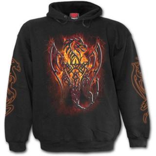Sweat-shirt gothique homme avec dragon gris sur lave craquelée