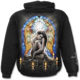 Sweat-shirt gothique homme avec femme enchaînée et vitrail