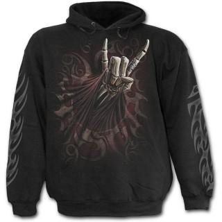 Sweat-shirt gothique homme avec guitariste faisant le salut Rock