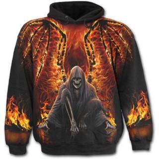 """Sweat-shirt gothique homme avec """"La Mort"""" aux ailes de feu"""