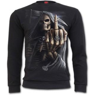 Sweat-shirt gothique homme avec la Mort faisant un fuck (sans capuche)