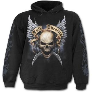 Sweat-shirt gothique homme avec La Mort sur sa moto et crane ailé