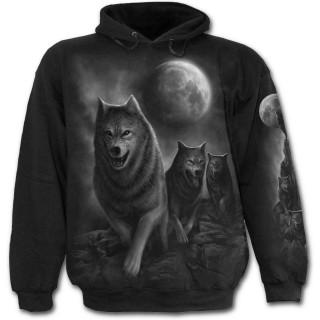Sweat-shirt gothique homme avec meute de loups et pleine lune