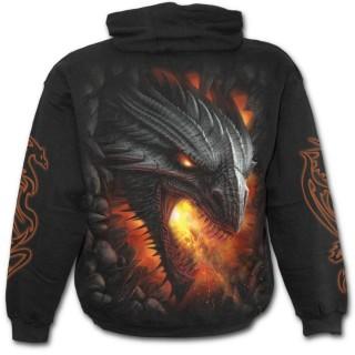 Sweat-shirt gothique homme avec sombre dragon de feu et symbole tribal