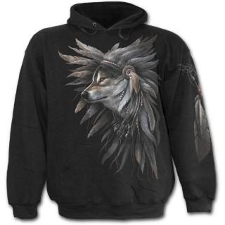 Sweat-shirt gothique homme avec squelette indien esprit du loup