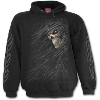 Sweat-shirt gothique homme avec tête de mort à voile déchiré
