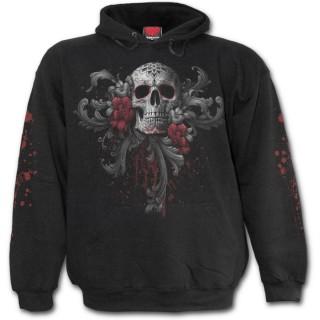 achat sweat shirt gothique homme avec t te de mort femme masqu e et roses pas cher. Black Bedroom Furniture Sets. Home Design Ideas