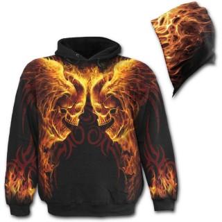 Sweat-shirt goth-rock homme avec têtes de morts ailés enflammées