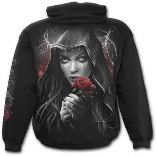 Sweat-shirt gothique homme avec tombe et femme en deuil à rose