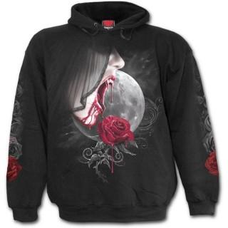 Sweat-shirt gothique homme avec vampiresse et rose sur fond de lune