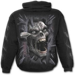 Sweat-shirt gothique homme avec zombie fracassant votre porte