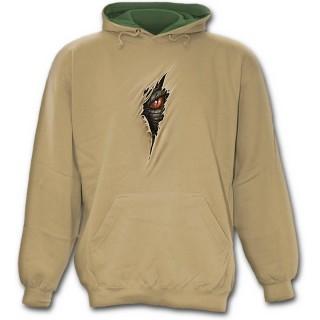 """Sweat-shirt gothique homme beige """"Libérez le dragon qui sommeil en vous"""""""