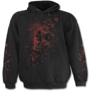 Sweat-shirt gothique homme à bouche de vampire et crane de sang
