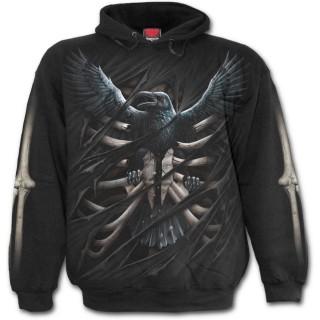 Sweat-shirt gothique homme à corbeau emprisonné dans une cage thoracique