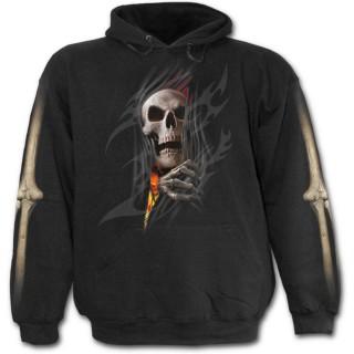 Sweat-shirt gothique homme à effet squelette sortant du vetement en flamme