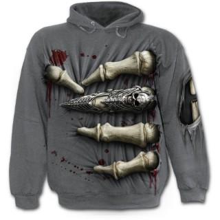 Sweat-shirt gothique homme ensanglanté traversé d'une main squelette