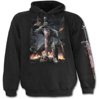 """Sweat-shirt gothique homme """"Esprit de l'épée"""" avec guerrier squelette en armure"""