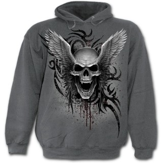 Sweat-shirt gothique homme gris avec tête de mort ailée