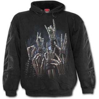 Sweat-shirt gothique homme à squelette rock jouant sur une guitare ornée de cranes