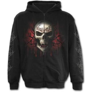 Sweat-shirt gothique homme à zip avec la Mort à chaine de combat