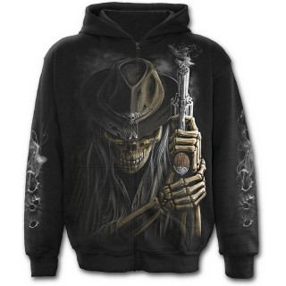 Sweat-shirt gothique homme à zip à squelette cowboy avec révolver fumant