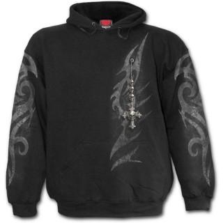 Sweat-shirt homme à symbole tribal et fausse broche