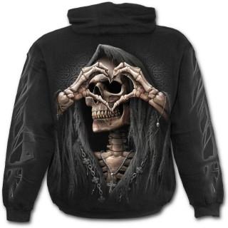 """Sweat-shirt homme """"Amour noir"""" avec la Mort formant un coeur"""