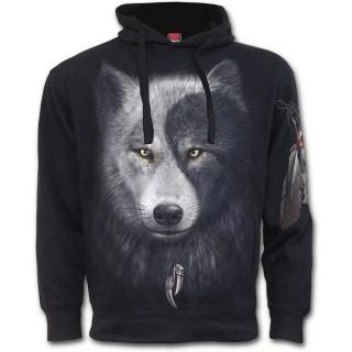 Sweat-shirt homme avec attrape rêve inspiration Yin et Yang et loups