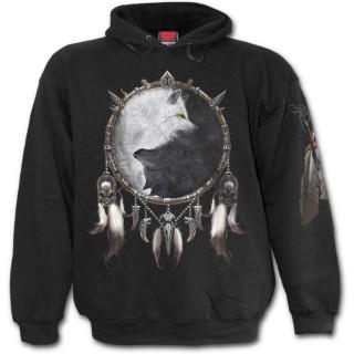 Sweat-shirt homme avec loups et attrape rêve inspiration Yin et Yang