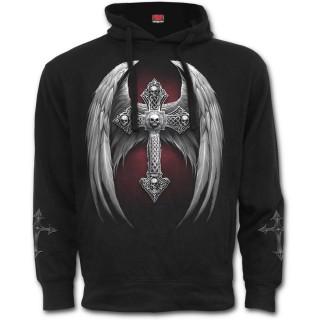 Sweat-shirt homme gothique avec ange tatoué prisonnier et croix macabre ailée