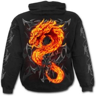 Sweat-shirt homme gothique avec dragon de flamme et crane