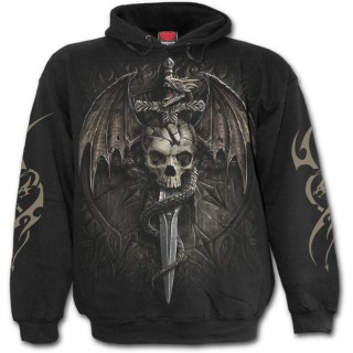 Sweat-shirt homme gothique à crane et dragon menaçant