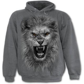 Sweat-shirt homme gris avec lion rugissant et motif tribal