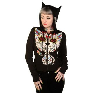 Sweat-shirt rock Banned à capuche féline et imprimé chat style crane de sucre
