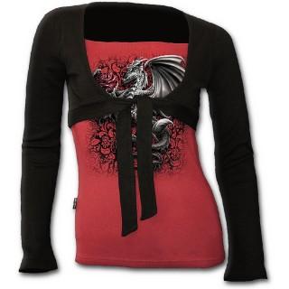 T-shirt boléro (2en1) noir et rouge avec dragon