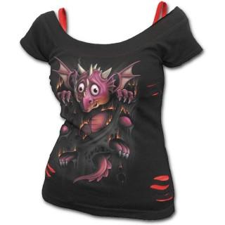 T-shirt débardeur (2en1) femme gothique avec bébé dragon et griffures