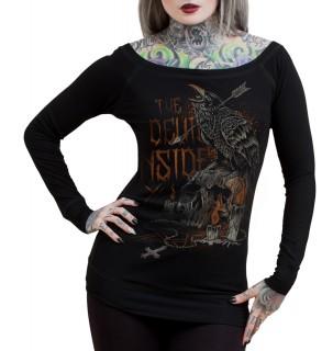 "T-shirt femme à manches longues HYRAW modèle ""DARKNESS - THE DEVIL INSIDE"""