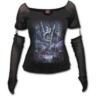 Achat T-shirt femme à manches style gant avec main spectrale à signe ... d86979476d3
